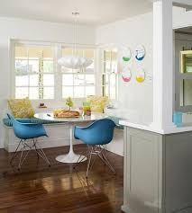 casual kitchen design with corner booth round kitchen table eames