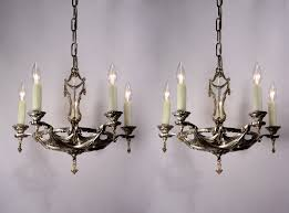Neoclassical Chandeliers Two Matching Antique Silver Plated Five Light Neoclassical