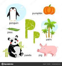 imagenes en ingles con la letra p ilustração vetorial para ensinar as crianças o alfabeto inglês com