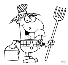 happy farmer man carrying a pitchfork coloring page free