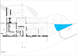 Floor Plan Of The House Exhibiting A Fascinating Organic Silhouette House In The Hills By
