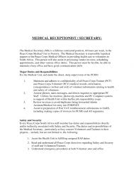 Medical Secretary Resume Examples Cover Letter For Spa Receptionist
