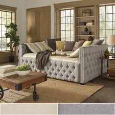 knightsbridge queen size tufted nailhead chesterfield daybed and