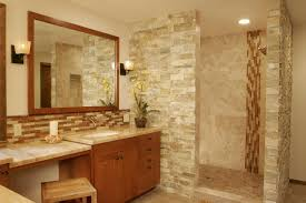 beautiful natural stone bathroom with mosaic glass tile backsplash