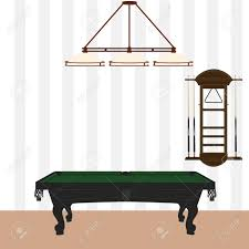 pool table wall rack vector illustration retro vintage pool table with green cloth