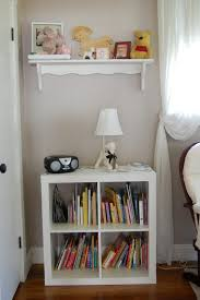 white bookshelf nursery brown wicker rattan modern laminate wooden