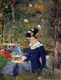 the monet family in their garden at argenteuil young woman in the garden 1880 edouard manet wikiart org