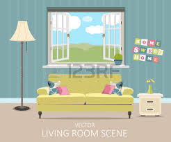 interior of a living room modern flat design illustration royalty