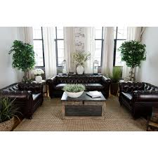 Top Grain Leather Living Room Set Abbyson Grand Chesterfield Brown Top Grain Leather Sofa Set