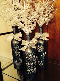 Wedding Centerpieces With Crystals by 3 Decorated Wine Bottle Centerpiece With Crystal Insert Black