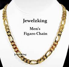mens link necklace gold images Mens 10mm 14k gold finish figaro chain necklace jewelzking gif