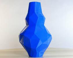 Vase Tall Tall Blue Vase Etsy