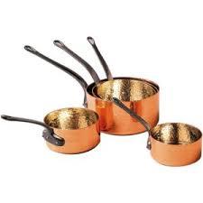 batterie de cuisine en cuivre baumalu lot de 5 casseroles cuivre martelé et étamé 201030 pas