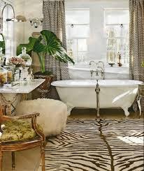 Clawfoot Tub Bathroom Design Ideas by Chocolate Zebra Rug With Powderpuff Vanity Stool Bath