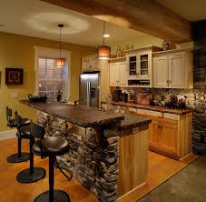 Basement Bar Ideas For Small Spaces Appliances Rough Stone Natural Tone Wall And Kitchen Island
