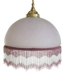 Beaded Pendant Light Shade 1920 U0027s Style Glass Pendant Shade With Beaded Fringe Chairish