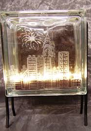 ideas and inspirations cityscape glass block with fire fly lights