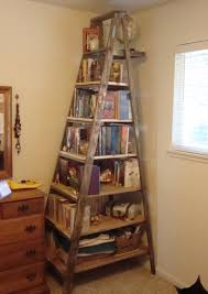 Bookcase Ladder Surprising Old Wooden Ladder Bookshelf Photo Decoration