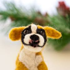 needle felted boxer dog ornament felted dog ornament crafts by keri