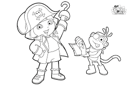 dora printable coloring pages pirates cartoon coloring pages