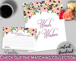 bridal shower words of wisdom cards watercolor flowers bridal shower words of wisdom for the and