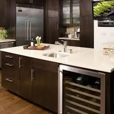 echanting espresso cabinets white quartz countertops for kitchen