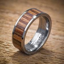 mens wood wedding bands titanium wood wedding band applewood men s ring by spexton on etsy