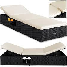 canap chaise longue chaise longue 1 pers canapé lit réglable polyrotin 195x60cm noir