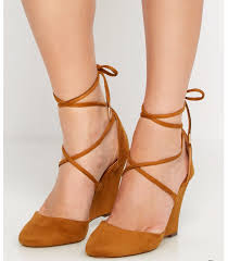 tan vegan women u0027s suede lace up wedges for 10 free shipping