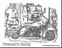 brilliant harley davidson motorcycle coloring pages with fireman