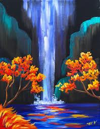 waterfalls paintings on black canvas tutorial autumn aloha easy