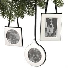 set of 3 silver frame ornaments crate and barrel polyvore