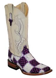 s quarter boots ferrini boots womens patchwork purple white square toe