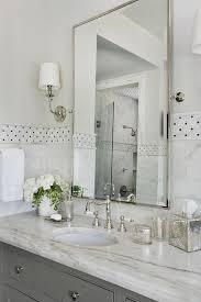 Polished Nickel Vanity Mirror Black And White Diamond Border Tiles French Bathroom