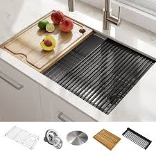 bowl kitchen sink for 30 inch cabinet kraus kwu110 30 kore workstation 30 inch undermount 16 single bowl stainless steel kitchen sink with accessories pack of 5