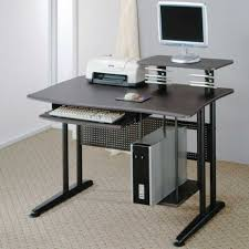Black Metal And Glass Computer Desk by Stunning Rectangle Silver Chrome Mobile Computer Desk Sliding