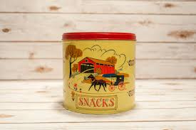 vintage snacks tin pennsylvania dutch amish kitchen decor country