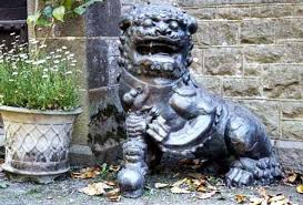lion dog statue sculpture lion dog and baby bronze traditional style