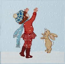 catching snow cross stitch pattern boo
