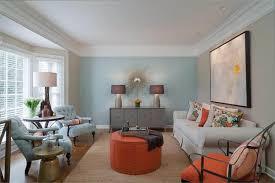 Orange Ottoman Modern Living Room With Orange Ottoman And Side Chairs Stylish