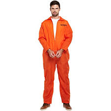 mens orange prisoner overalls boiler suit convict robber burglar