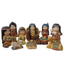 10 piece ceramic nativity set with native american children