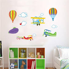 popular love airplanes buy cheap lots from china cartoon airplane and hot air balloons removable wall sticker vinyl decals for kids room boys