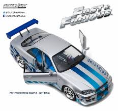 nissan skyline last year made greenlight collectibles made 2 fast 2 furious movie car nissan