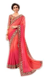 peach color trynget georgette saree tng mhk 4028 pink amazon in clothing