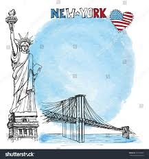Brooklyn Flag New Yorkamerican Symbols Statue Libertybrooklyn Bridgeheart Stock