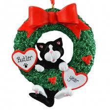 tuxedo cat in glittered wreath ornament personalized ornaments
