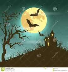 halloween illustration of mysterious night landscape with castle