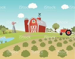 A Cartoon Barn Cartoon Farm Landscape With Fields And Tractor Stock Vector Art