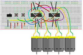 how to build an h bridge circuit to control 4 motors